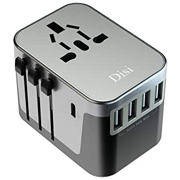 Disi Universal Travel Adapter,Universal Smart 4 USB + 1 Type C Charging Ports for High Power Appliances for UK, EU, AU, US, Over 200 Countries Black (Gun gray)