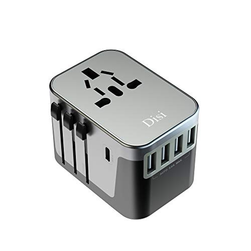 Disi Universal Travel Adapter,Universal Smart 4 USB + 1 Type C Charging Ports All in One International Power Adapter, for High Power Appliances for UK, EU, AU, US, Over 200 Countries