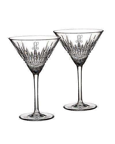 Waterford Crystal Lismore Diamond Martini Glasses, Pair (Engraved 9 oz)