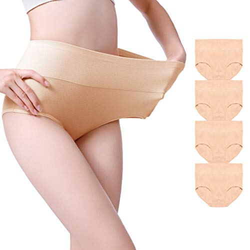 Envlon Womens Cotton Underwear, High Waist Soft Breathable Stretchy Ladies Panties Brief Multipack, Beige, Large, 4pack