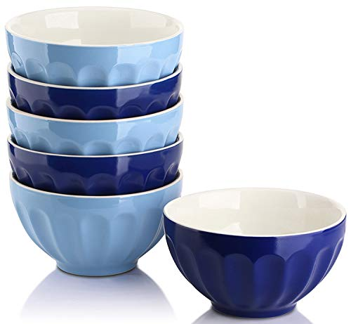 DOWAN 28 Ounce Large Cereal Bowls Set, Porcelain Bowls for Soup, Salad, Rice, Pasta, Microwave & Dishwasher Safe - Set of 6, Assorted Color