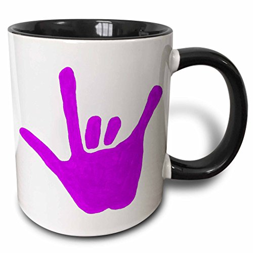 (3dRose 15302_4 Love Hand Sign Language In Purple - Two Tone Black Mug, 11 oz, Multicolored)