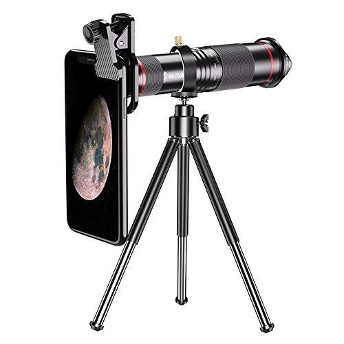 JUJUN 48x Hd Mobile Phone Macro Lens Zoom Telephoto Camera Tripod Alloy Telescope for iPhone 11 Pro Samsung Galaxy S9 Universal Clip