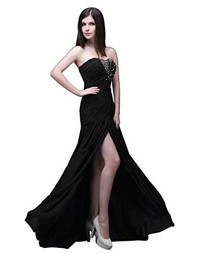 Chiffon Perlen Kappe Edaier Schwarz Prom Ärmel Kleid Abendkleid Damen 6I5qxqT