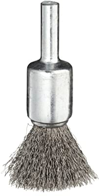 """Weiler Wire End Brush, Solid End, Round Shank, Steel, Crimped Wire, 1/2"""" Diameter, 0.006"""" Wire Diameter, 1/4"""" Shank, 25000 rpm (Pack of 1)"""