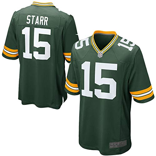 Men's/Women's/Youth Bart_Starr_#15_Bay Sports Game Player Jersey XL Green