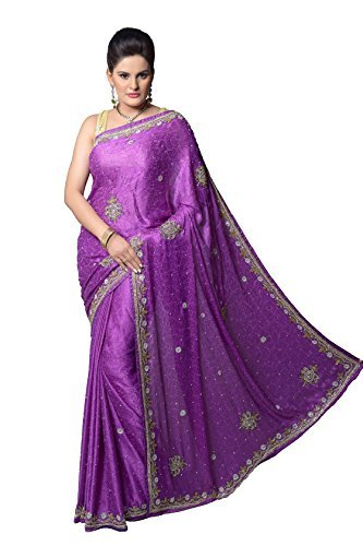 Aarti Saree Women's Saree Designer Embroidery Party Wear Saree Purple Free Size