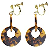Leopard Acrylic Round Ring Clip on Dangle Earrings Large Moon Drop for Kids Girls Women