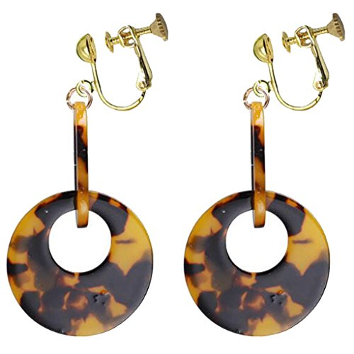 Fashion Leopard Acrylic Round Clip on Earrings Big Moon Dangle Prom for Girls Women Dress Up Gift