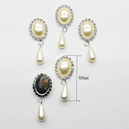 Pearl Ribbon Faux Bracelet (XINXI 10cps / lot Oval hanging drop Faux ivory pearl Rhinestone buttons Flat Back Embllishment for Hair Flower Center Brooch)