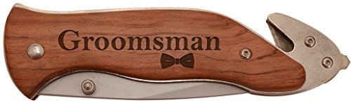 Wedding Party Gift Groomsman Laser Engraved Stainless Steel Folding Survival Knife -