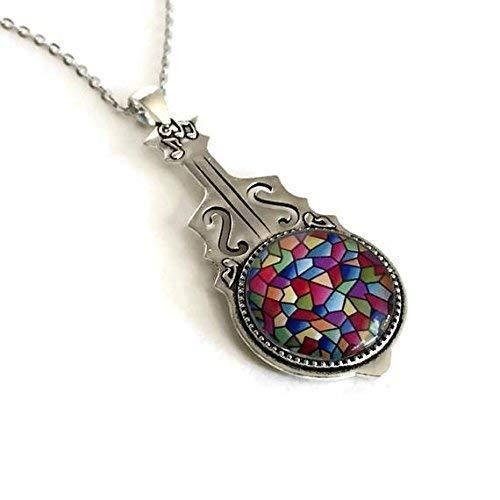 Music Necklace - Violin - Mosaic Image - Handmade