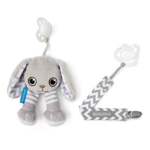 orn, PaciPal and PaciGrip Pacifier Clip, Holder, Toy, Teether, Soothie, Universal Loop, Plush, Lovey, Bunny, Gray, 2 Piece Set ()