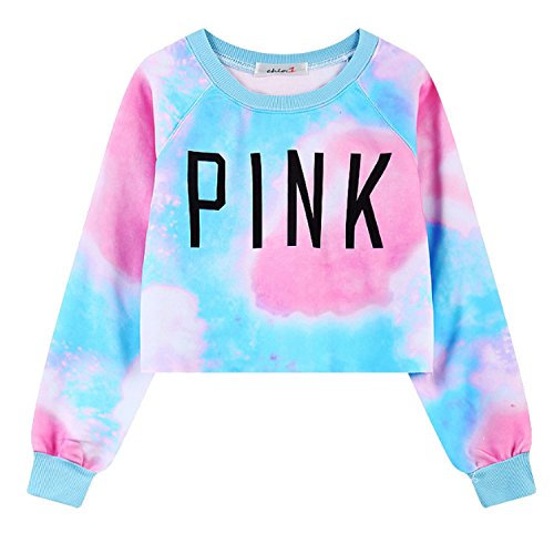- JINTING Women's Colorful Tie Dye Pink Letters Print Sweatshirt