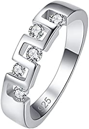 Veunora 925 Sterling Silver Created 5PCS White Topaz Filled Eternity Ring Band