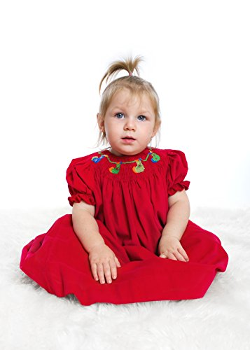 Carriage Boutique Red Christmas Bishop Dress - Hand Smocked Christmas Socks