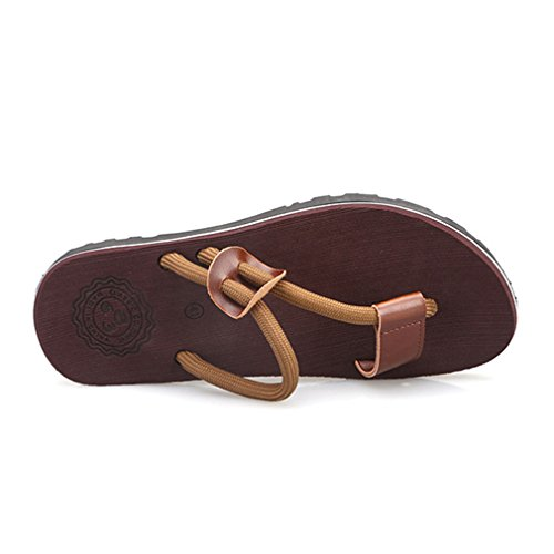 Sandales Plates Anti-Dérapantes Sandales Plates Style Plage Chaussures à Double Usage pour Hommes et Femmes, Asiatiques 36-45 (5 Couleurs: Kaki, Noir, Bleu foncé, Marron, Rouge) Marron2