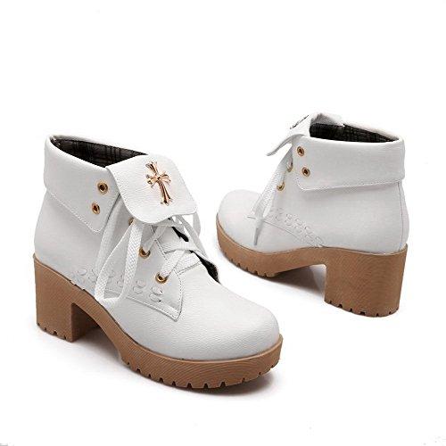Weiß geschlossene oben Frauen Zehekätzchen sich Allhqfashion Heels Stiefel schnüren runde feste wnHatxqvf