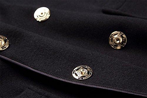 lana con cara Outwear de de traje cordones mujeres e doble pretina con de Chaqueta ropa otoño de de cachemira rompevientos de las cuello invierno Black de FnqCIHZ