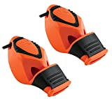 Fox 40 Epik Cushion Mouth Group Sports and Safety Loud Whistle with Lanyard, Orange (2 Pack)