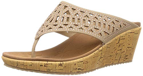 Skechers Women's Beverlee-Summer Visit-Hooded Rhinestone Laser Cut Wedge Thong Sandal, Taupe, 5.5 M -