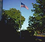 25 FT Heavy Duty Residential Flag Pole Complete Set with Valley Forge 4x6 FT US American Nylon Flag WindStrong®