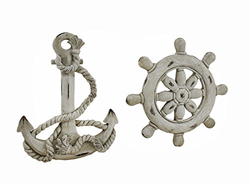 Resin Decorative Plaques Ship Wheel And Anchor White Finish Nautical Wall Hangings Set Of 2 9 X 9 X 1 Inches White Model # 42154