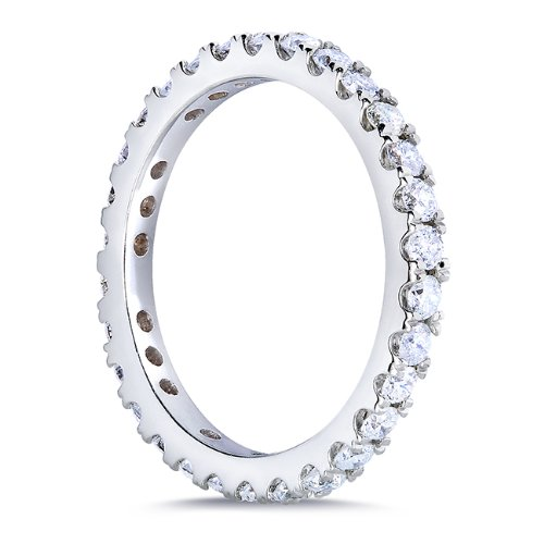 1 Carat TW Round Brilliant Diamond Eternity Band in 14k White Gold Size 5.5