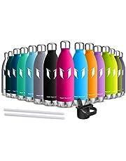 Super Sparrow Trinkflasche Edelstahl - Wasserflasche Doppelwandig Vakuum Isoliert Edelstahl - Kleiner Mund - 350ml & 500ml & 750ml - Auslaufsicher Sport Trinkflaschen | Ideale Flasche - 2 Deckel