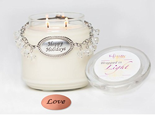 - Happy Holidays Wrapped in Light (17 ounce) Soy Candle 'Cinnamon Splendor' - Wrapped with Infinite Links - Magnetic, Interchangeable, Collectible