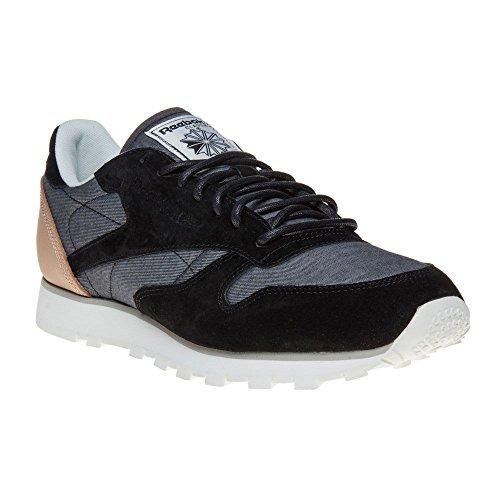 Reebok Men's CL Leather Fleck, BLACK/CHALK/SHADY GREY, 9 M US