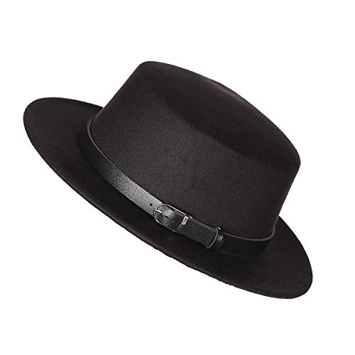 Prefe Women's Brim Fedora Wool Flat Top Hat Church Derby Belt Cap -