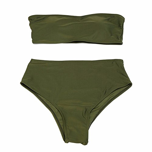 Push Bandeau Gepolsterter Taille set Hohe Bauchweg Grün Damen Bikini Up Fittoo Sqwxp5ZPU