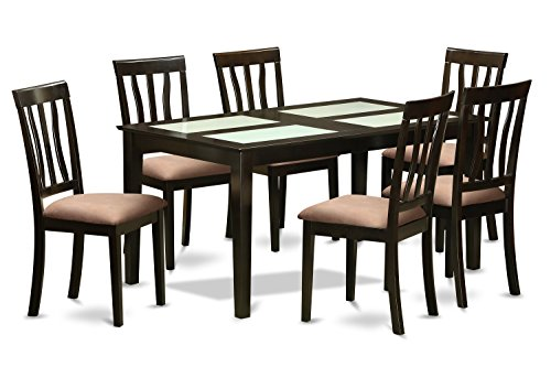 East West Furniture CAAN7G-CAP-C 7 Piece Dining Room Table and 6 Chairs Set for 6 People