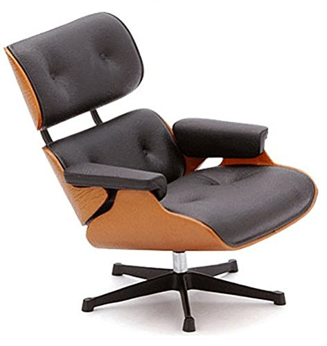 Mid Century Modern Design Miniature Eames Lounge Chair, Black, 1:12 (Real Miniature)