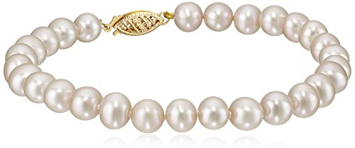14k Yellow Gold 6-7mm White Freshwater Cultured AA Quality Pearl Bracelet, (Pearl Double Row Bracelet)