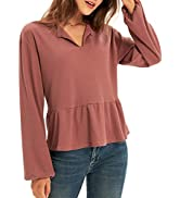 GRACE KARIN Women's Waffle Knit Tops Long Sleeve Button Shirts Ruffle Tiered Babydoll Crewneck Pu...