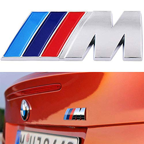 BMW M Power Badge Tri Color, Rear Emblem Car Decal Logo Sticker for BMW 1 3 5 7 Series E30 E36 E46 E34 E39 E60 E65 E38 X1 X3 X5 X6 Z3 Z4