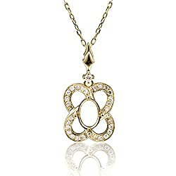 Yellow Rose Gold Oval Emerald Shape Pendant