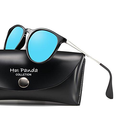 Polarized Round Vintage Retro Sunglasses Erika Sunglasses For Men Women (Blue, - What Glasses For Face Oval