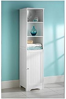 white bathroom tall boy cabinet