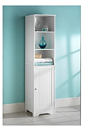 White Bathroom Tall Boy cabinet by Maine: Amazon.de: Küche & Haushalt