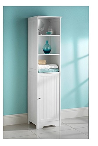 bathroom furniture tall boy cupboard floor shelf storage cabinet rh amazon co uk tall bathroom storage cabinet amazon