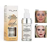 TLM Flawless Colour Changing Warm Skin Tone Foundation Makeup Base Nude Face Moisturizing Liquid Cover Concealer change To Your Skin Tone 30ml