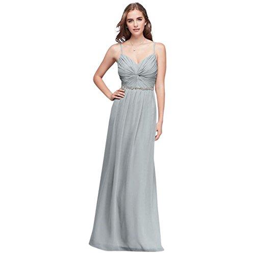 Twist Bodice Chiffon Bridesmaid Dress with Beaded Belt Style W11147, Mystic, 10