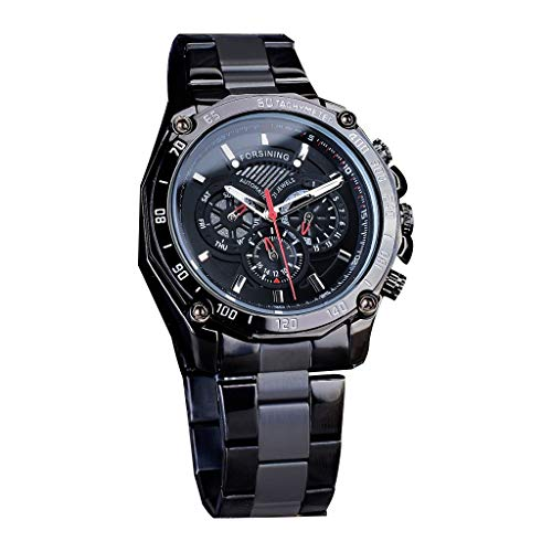 LUCAMORE Men's Skeleton Automatic Mechanical Watch Stainless Steel Band Hollow Dial Waterproof Watch