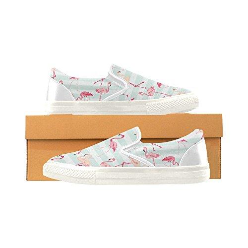 D-story Anpassade Sneaker Rosa Flamingo Kvinnor Ovanlig Slip-on Tygskor