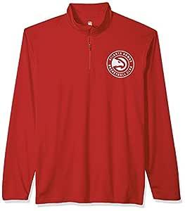 NBA Atlanta Hawks Men's Quarter Zip Pullover Shirt Athletic Quick Dry Tee, Small, Red