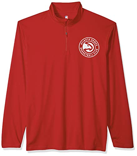 Ultra Game NBA Atlanta Hawks Men's Quarter Zip Pullover Shirt Athletic Quick Dry Tee, X-Large, Red