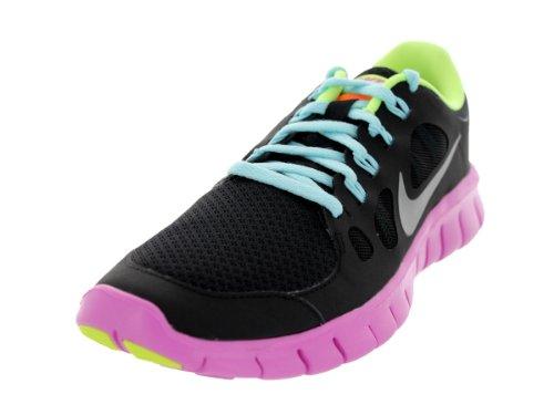 Nike Free 5.0 Gradeschool Girls Scarpe Da Corsa Nero / Rosso Viola / Ghiaccio Ghiacciaio / Argento Metallizzato